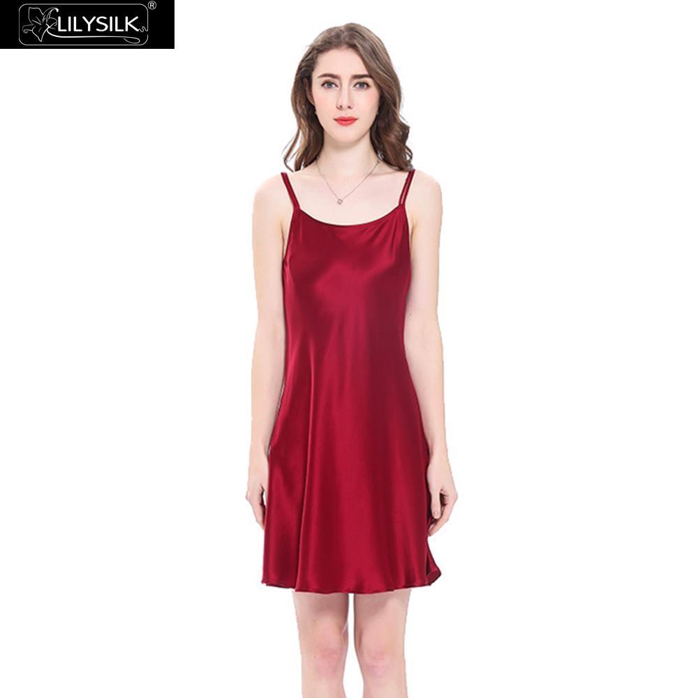 c30c346445 LilySilk Nightgown Women Night Dress Sleepwear Girls Mini Pure 100 Silk 16  momme Scoop Neck Women s Clothing Free Shipping