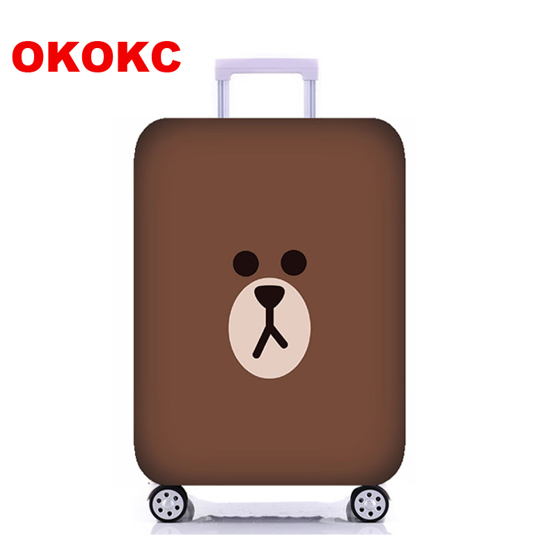 OKOKC Cute Bear Thickest Luggage Cover for Trunk Case Apply to 18-32 Suitcase, Elastic Suitcase Cover, Travel Accessories