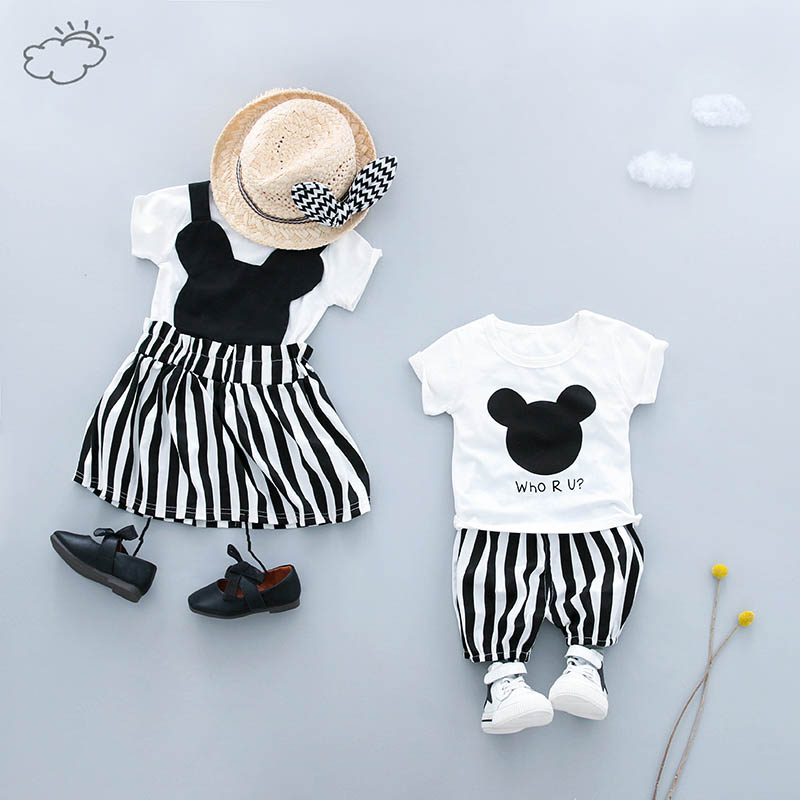 WENWENDEXINGFU Summer Baby Clothing Sets Girl Boy Clothes Suits T Shirt Shorts Dress Infant Kid Brother Sister Clothes Suits