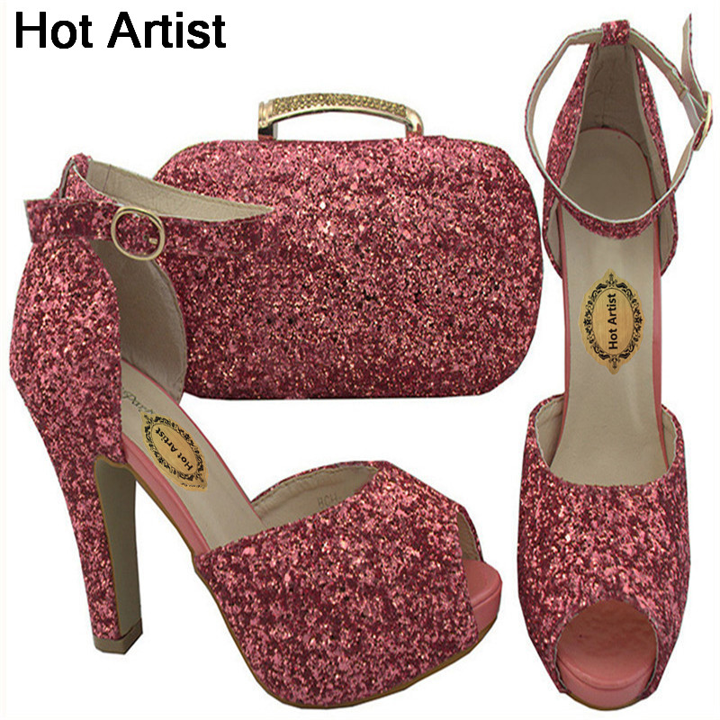 Hot Artist 2018 New Design Italian Style Shoes And Bag Set African Women Shoes And Matching Bag Set For Wedding Dress BCH-32A african fashion shoes with matching bag set for wedding party italian design nigeria women pumps shoes and bags mm1060