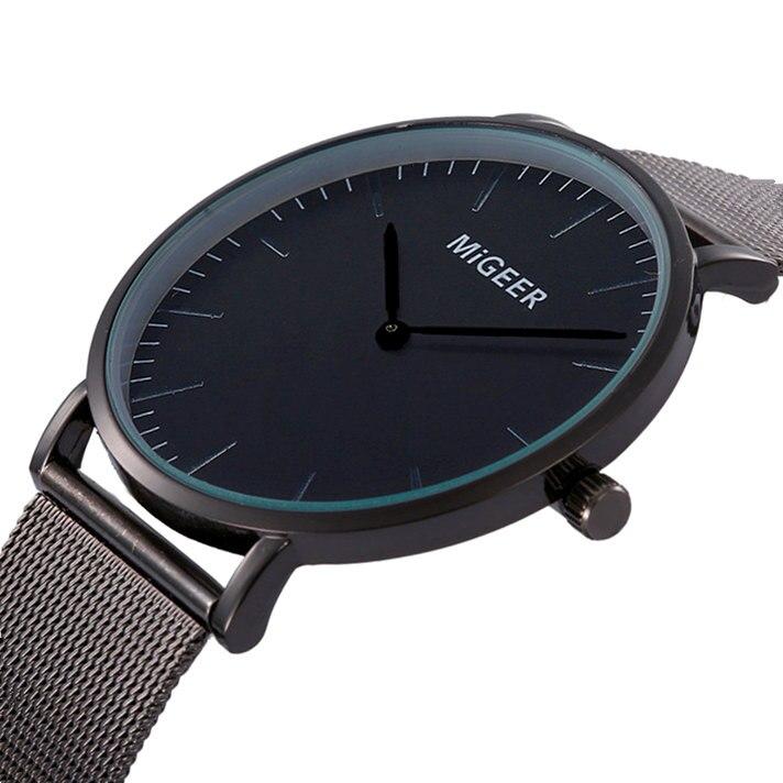 New Men MIGEER Watches Luxury Designer Stainless Steel Quartz Watch Women Elegant Analog Wristwatch Bracelet Relojes Masculino migeer 2009 trendy steel band men quartz watch