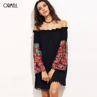 ORMELL 2017 Women S Black Off The Shoulder Loose Short Dress Long Floral Embroidery Sleeve Tassel