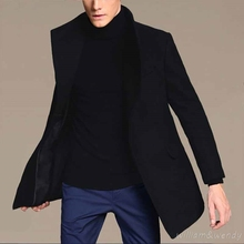 Мужчины Черные Зимние Теплые Шерстяные Пальто Кашемир Стильный Пиджак Классический Длинное Пальто Манто Homme Casaco Masculino Корейской Peacoats