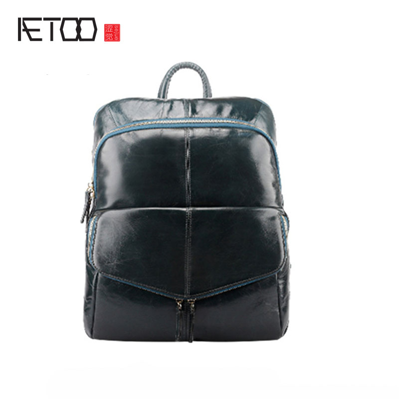 AETOO Men's Shoulders Bag Casual Backpack Head Layer Oil Wax Leather Travel Large Capacity Computer Backpack Shoulder Bag Women aetoo oil wax belt shoulder leather genuine male cowboy backpack casual retro travel bag computer bag tide