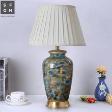 Медная настольная лампа, прикроватная лампа, Цзиндэчжэнь, керамическая лампа, роскошные настольные лампы для гостиной, декорированные спальни, светодиодные лампы