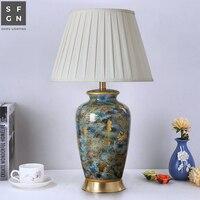 Kupfer tisch lampe nacht lampe Jingdezhen keramik lampe großzügige luxus tisch lampen für wohnzimmer dekoriert Schlafzimmer led lampen-in LED-Tischleuchten aus Licht & Beleuchtung bei