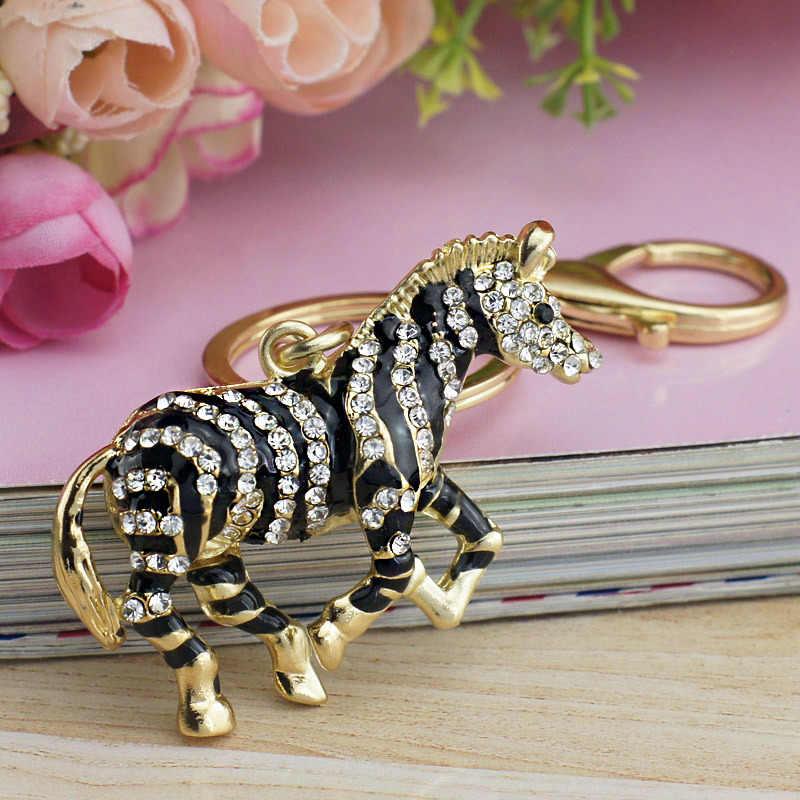 Dalaful Preto Zebra Cavalo de Cristal Strass Saco De Metal Pingente chaveiro Titular mulheres Chaveiros Chaveiros Para Carro K180