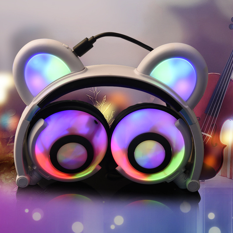 2017 Foldable Flashing Glowing Bear Ear Headphones Gaming Headset Panda Cosplay Earphone with LED light For PC Laptop Phones ...