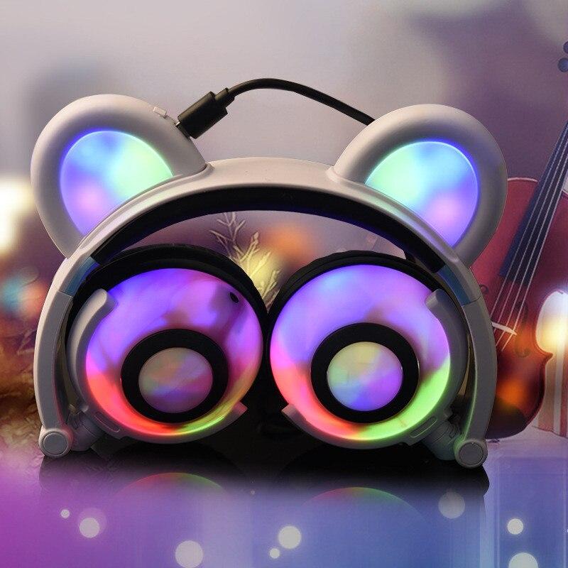 Pliable clignotant brillant ours oreille casque de jeu casque Panda écouteur avec lumière LED pour PC portable téléphones cadeau pour fille