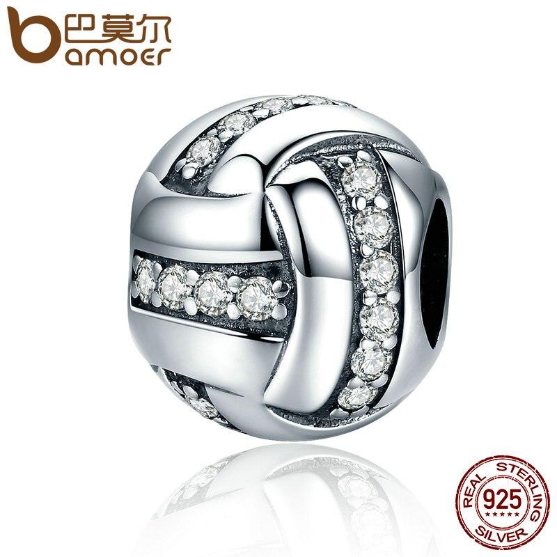 BAMOER alta calidad genuino 925 plata esterlina brillante bola cinta forma cupieron las pulseras del encanto para las mujeres joyería SCC302