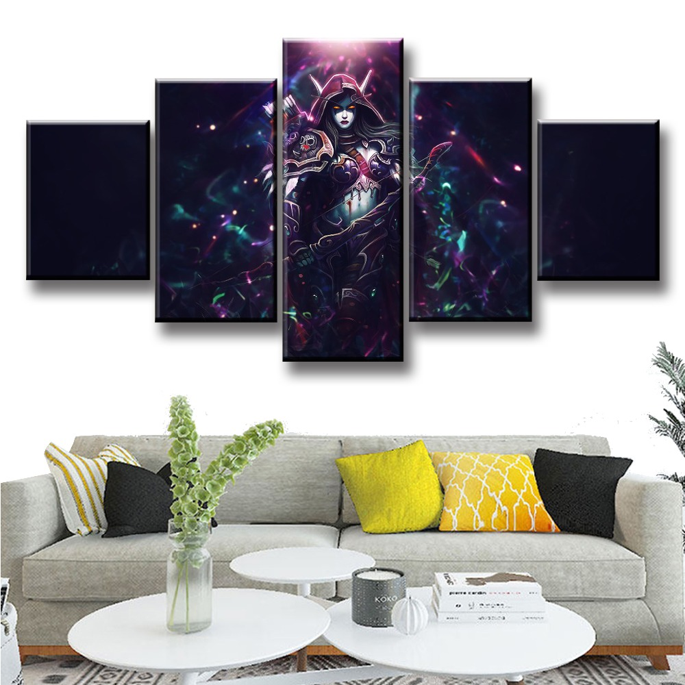 Sylvanas Game 5 Piece Print Picture Poster Painting Canvas Wall Art Picture Modern Home Decoration Living Room Canvas Painting image