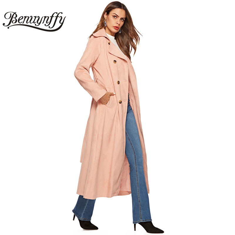 Benuynffy Women's Corduroy Double Breasted   Trench   Coat with Belt 2018 Autumn Highstreet Women Pink Elegant Long Coat Outwear