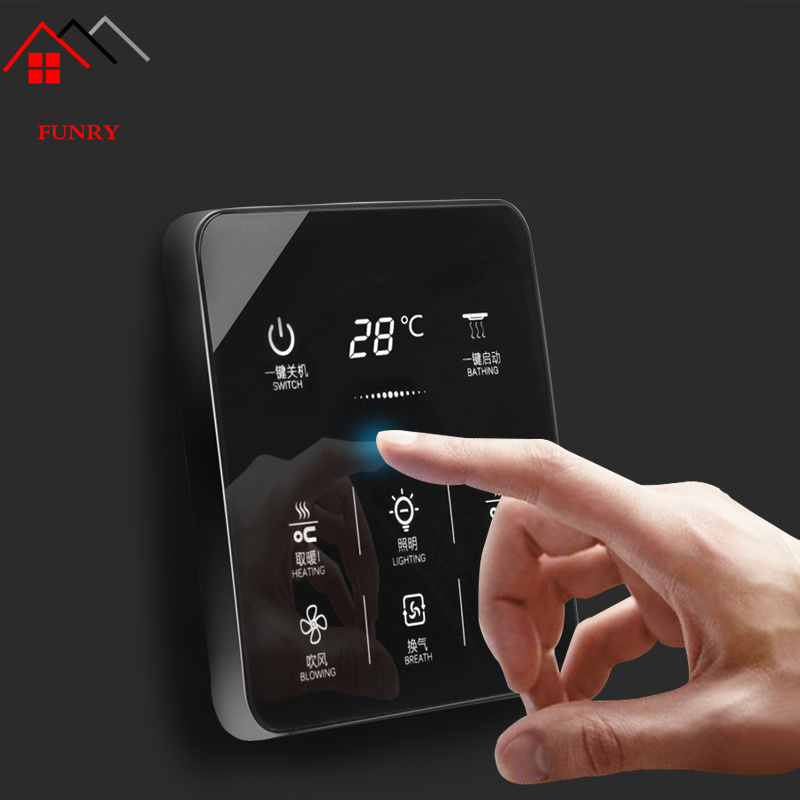 6 In 1 Multifunction Smart Touch Yuba Switch Socket 6 Gang Bathroom Universal Waterproof Smart Touch Screen 86*86mm