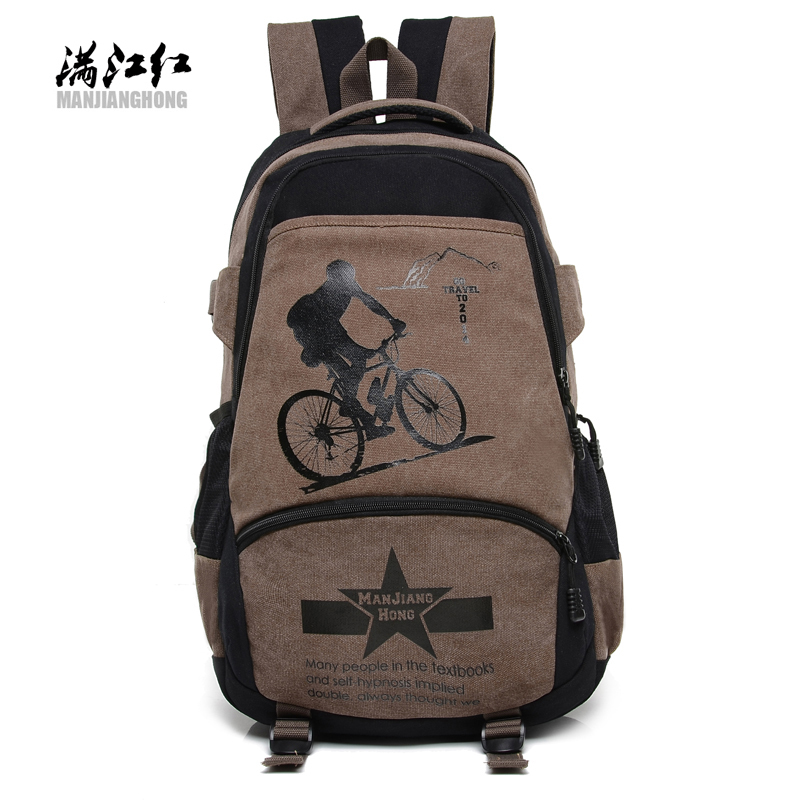Manjianghong fashion traveling canvas men's backpacks vintage hipster pattern brand in boy casual school riding bags rucksacks