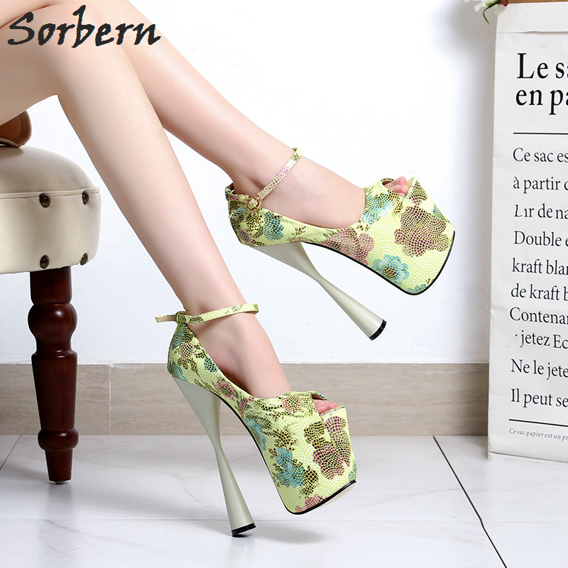 e9c31019c2c Sorbern Ankle Strap Peep Toe High Heel Shoes Woen Pumps Thick Platform Heels  Size 10 Women S