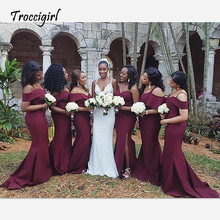 Floor Length Burgundy Mermaid Bridesmaid Dresses Maid Of Honor 2018 Sexy Off Shoulder Spaghetti Strap Long Party Dress For Women vestido sexy off shoulder lace applique beaded maid of honor party gowns 2018 cheap burgundy mermaid long bridesmaid dresses