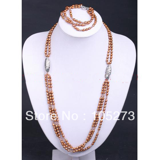 New Free Shipping Pearl Jewelry Set Multi Strand Brown Freshwater Pearl Necklace Bracelet 6-7mm Rice Shaper Top Quality Hot SaleNew Free Shipping Pearl Jewelry Set Multi Strand Brown Freshwater Pearl Necklace Bracelet 6-7mm Rice Shaper Top Quality Hot Sale