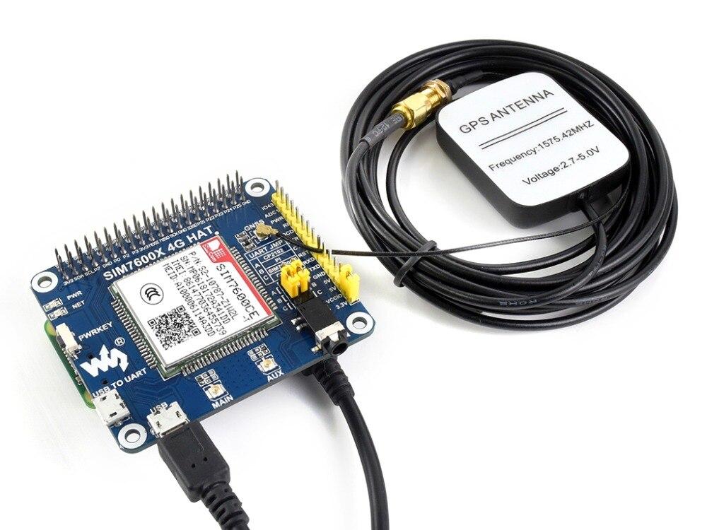 4g/3g/2g/GSM/GPRS/GNSS CHAPEAU pour Raspberry Pi Basé sur SIM7600CE-T 4g/3g/2g communication et positionnement GNSS module