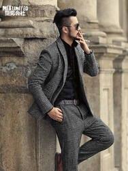 Мужские осенние и зимние клетчатые новые серые узоры Тонкий Повседневный Банкетный Блейзер костюм мужской шерстяной Европейский стиль