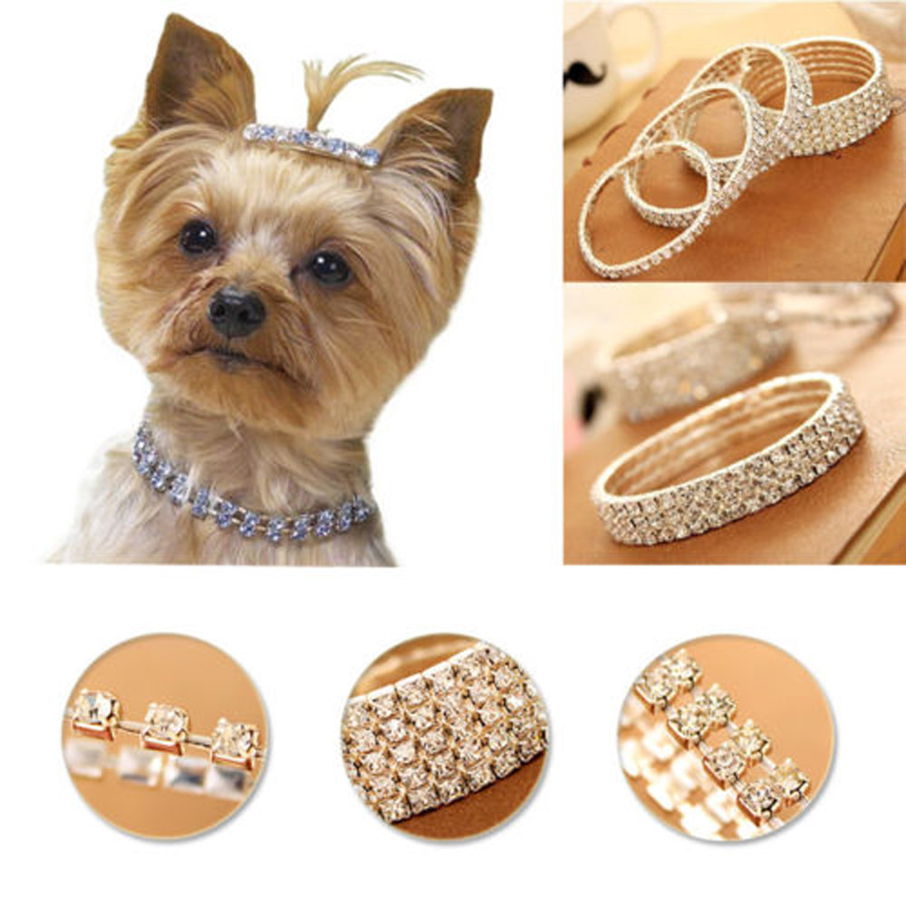 Bling Diamante Rhinestone Flexible Cat Dog Collars Pink for Small Dogs Chihuahua Yorkie Size S M L