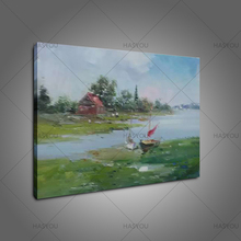 Hand Painted Scenery Art Landscape Oil Painting On Canvas Pastoral river fram oil Paintings for Living Room Hotel Decoration
