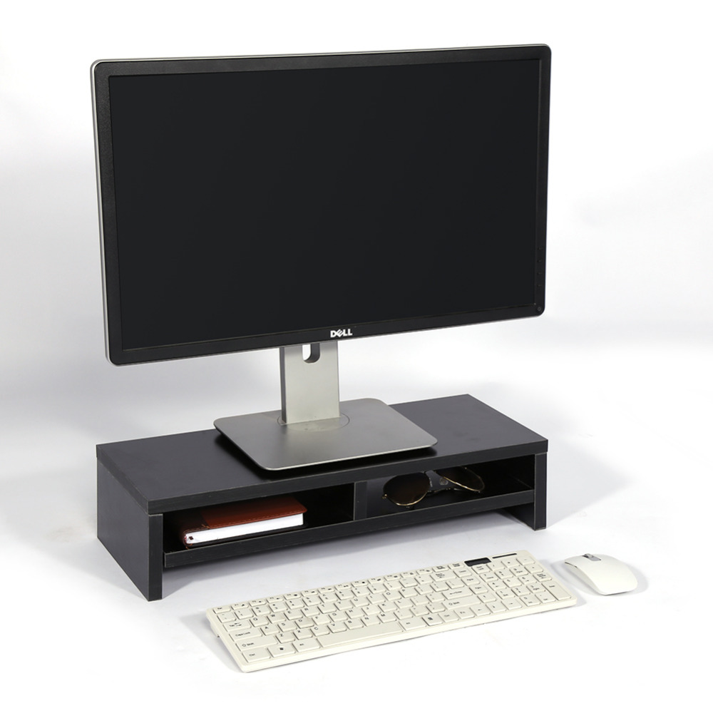 Lcd Tv Laptop Rack Computer Screen Monitor Riser Stand Wood Shelf
