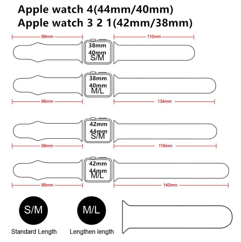 สายซิลิโคนสำหรับ apple watch 38mm 42mm iwatch 4 Band 44 มม./40 มม.สร้อยข้อมือกีฬายางสำหรับ apple watch 4 5 3 2 1