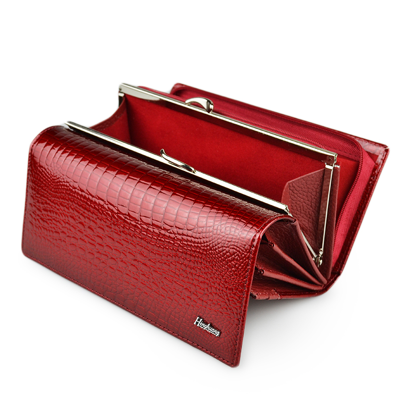 HH Genuine Leather Women Wallets Alligator Long Hasp Zipper Wallet Ladies Clutch Bag Purse 2018 New