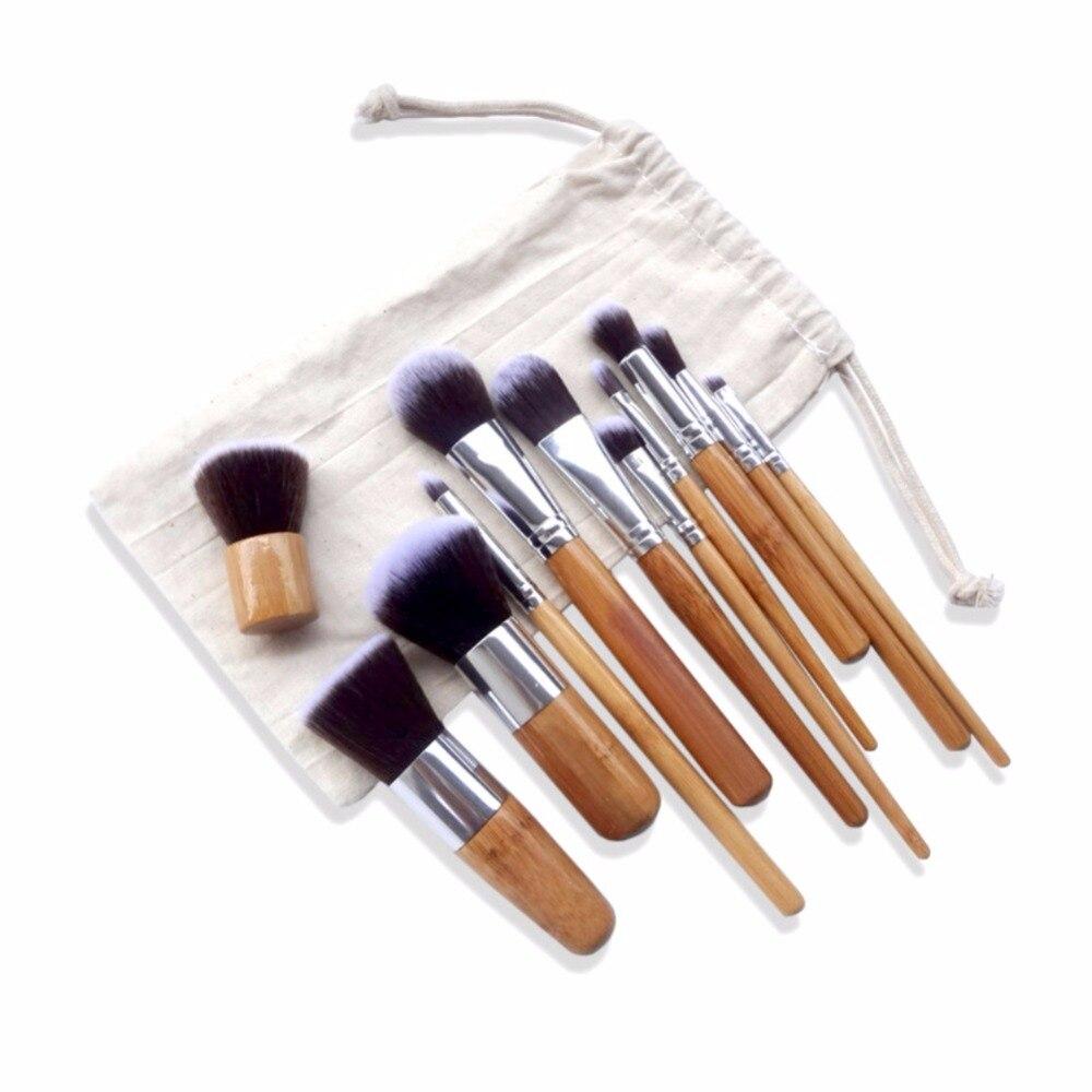 11pcs Brush Set Professional Soft Makeup Brushes Foundation Eye Face Cosmetic Make Up Brush Tool Kit +Bag professional bullet style cosmetic make up foundation soft brush golden white