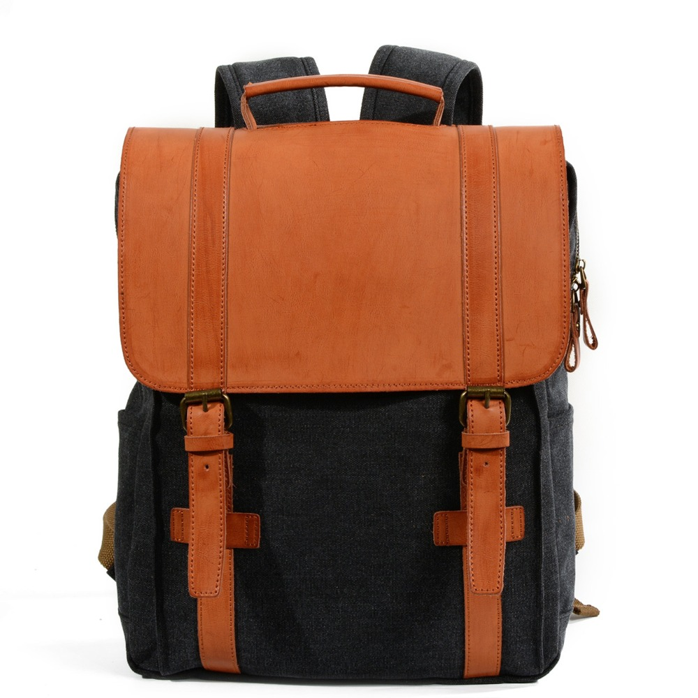 M202 Fashion Backpack Leather Canvas men backpack School Bag Military Backpack Women Rucksack male Knapsack Bagpack mochila New korff средство двухфазное для снятия макияжа 150 мл