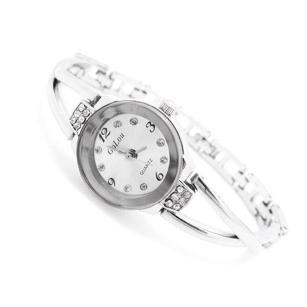 Bracelet Watch Quartz-Wristwatches Crystal-Dress Stainless-Steel Women Ladies GO106 Feminino