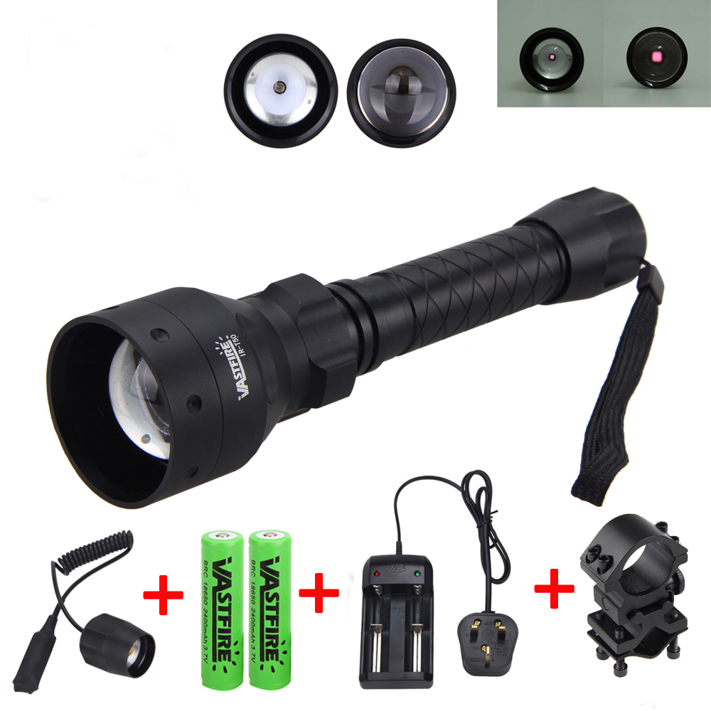 850nm IR Hunting Torch Long Range Infrared Flashlight +25 MM Rifle Mount +Remote Pressure Switch+2 pcs Battery+Charger