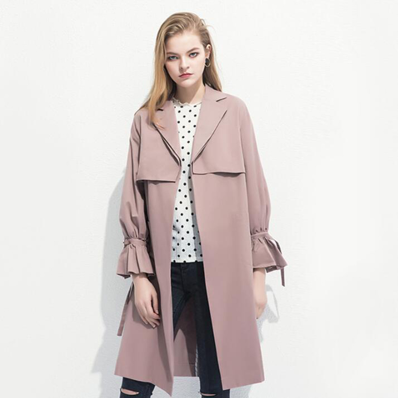 2018 Autumn New   Trench   Coat Women Plus size With belt Fashion Long Coat Elegant Women Bell sleeve Slim Autumn Windbreaker Coat