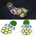 Teenage Mutant Ninja Turtles Вязание крючком новорожденный Фотографии Реквизит Костюм Набор Шапочки Шляпа Плащ Новорожденный Наряды Аксессуар