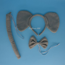Animal Elephant Headband Bow Tail Collar Party Costume Cosplay Fancy Dress Headwear Decor