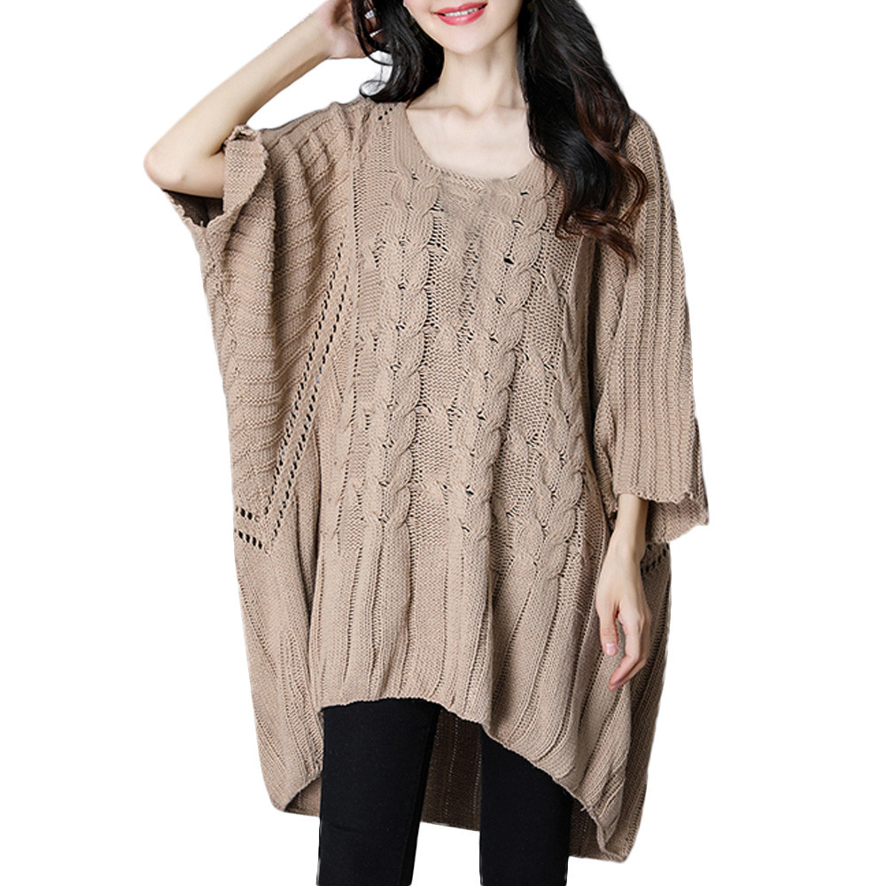 FeiTong Oversized Sweater Women Plus Size Casual Loose Sweater Pullover Bat Blouse Sweater Women Winter Jumper Female