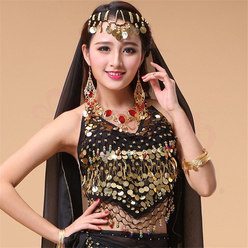 New Style Hot Selling On Sale Cheap Coins Sexy Belly Dance Top Size Bra For Women Indian Dancing Coat 11 Colors Available
