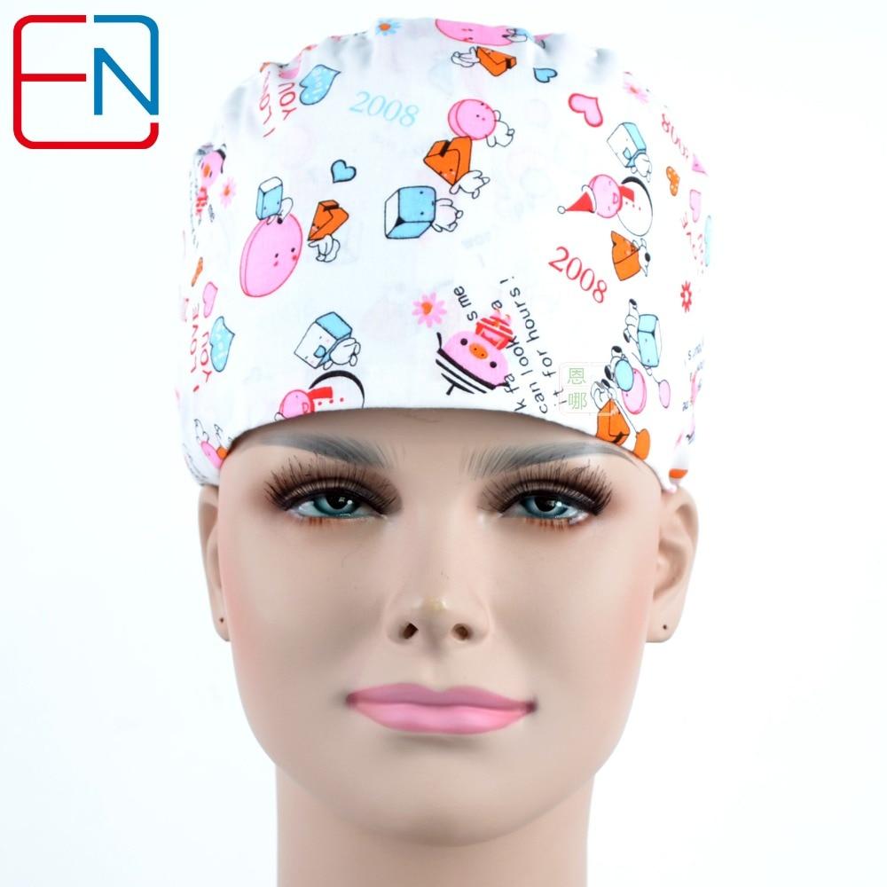 Hennar 2018 Hospital Women Chirurgické čepice Lékaři a zdravotní sestry 100% bavlna Klinika Pracovní čepice Nastavitelné Bílé tiskové čepice pro ženy