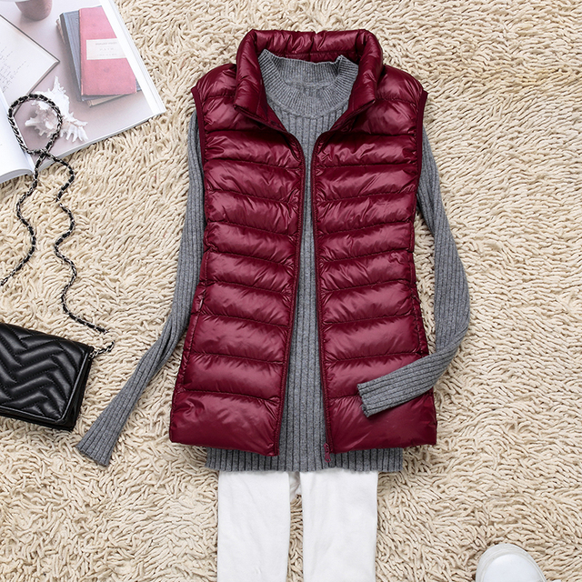 New Autumn Winter Women Sleeveless Jacket Ultra Light White Duck Down Vest Ladies Outwear Slim Vest Coat Warm Waistcoat SF424