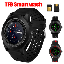 TF8 Smart Watch Fashion Round Bluetooth Smartwatch Fitness Tracker Support Memory Card SIM Phone Wristwatch