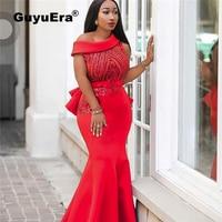 GuyuEra African Dress for Women High end Dress Africa Hot Sale Explosion Space Layer Slant Shoulder Sequins Slim Fishtail Dress