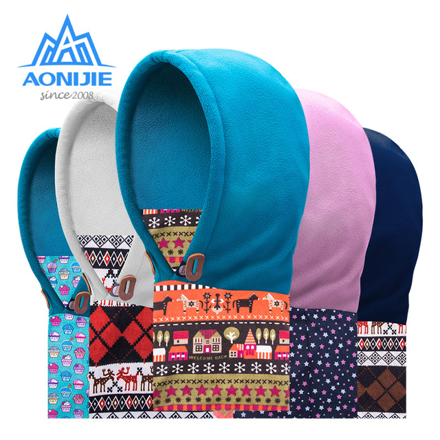 c87c54060eb AONIJIE Children Thermal Fleece Balaclava Face Cover Kids Ski Cap Mask  Scarf Double Layered Winter Hat Running Cycling