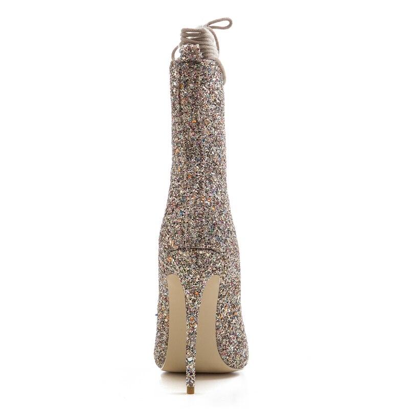 33 Personalizado Tacones Calidad Nuevo Marca De Zapatos Tamaño Fiesta Encaje Verano Oro plata Superior Mujeres Gran 43 Tinto Las Delgada Karinluna Botas vino tgqwXw