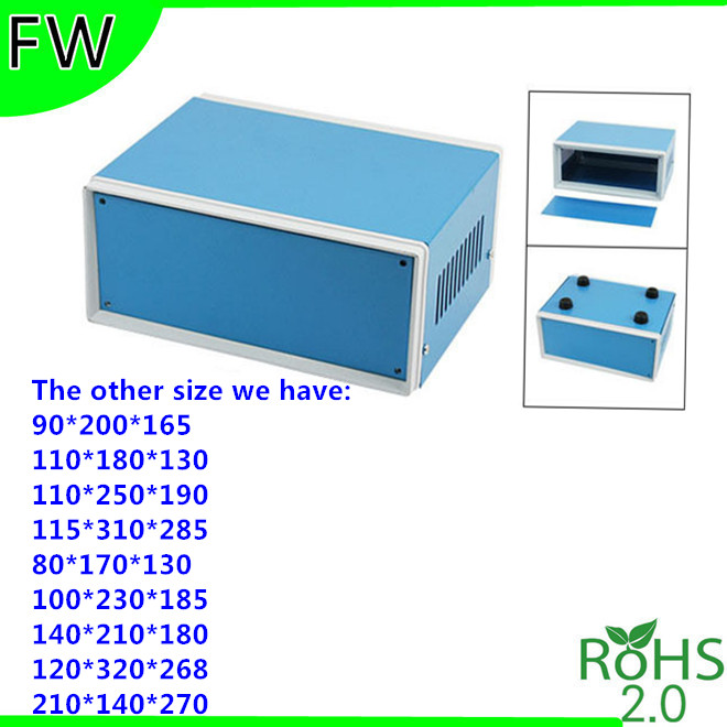 Blue Instrument Metal Chassis Sheet Metal Iron Box Shell Metal Instrument Enclosure Industrial Controller Case 180*130*110mm