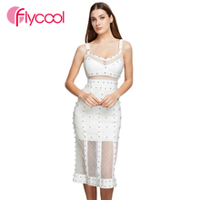 Flycool 2019 Sexy Bandeau Women Summer Beading Mesh PatchworkBodycon Pure Color Bandage Dress Backless Wholesale Vestidos