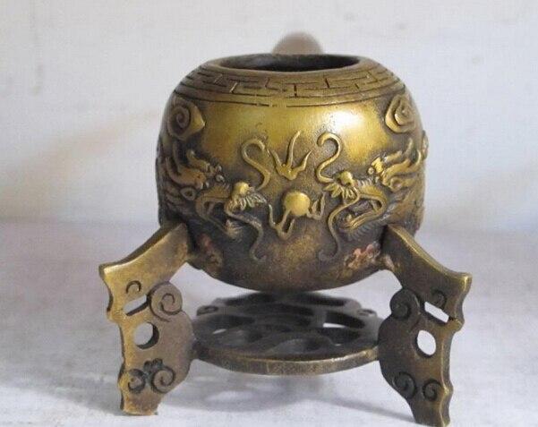 Xd 003166 8 China Ausgezeichnete bronze kupfer skulptur 2 drachen tabak rohr auf der unterseite regal - 3