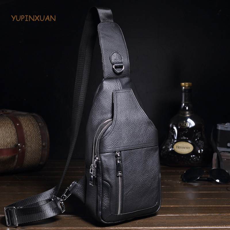 YUPINXUAN Europe Fashion Design Mens Chest Bags Cowhide Black Cow Leather Chest Packs Real Leather Shoulder Bags Small Sling Bag yupinxuan vintage cow leather messenger bag for men luxury crocodile grain chest bags cowhide crossbody bag chest packs russian