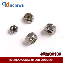 304 4#6#8#10# US Standard Hexagonal Nylon Lock Stainless steel nut