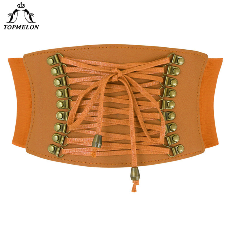 TOPMELON Punk Leather Waist Belt Lace Up Female Strap High Quality Women Fashion 2018 Belt Slimming Adjustable Wide Band