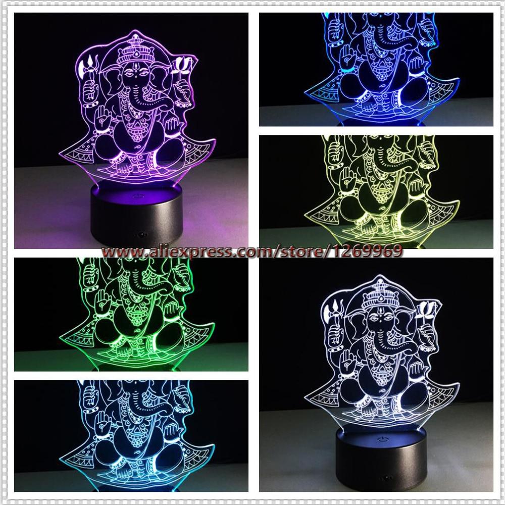 Night lamps india - Christmas 3d Led Night Light Visual 7 Colors Illusion India Lord Elephant Rgb Kid Child